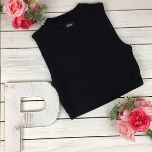 Kate Spade Saturday Black Knitted Crop Top